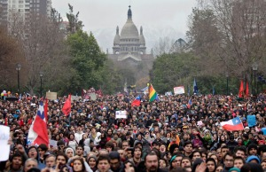 People march during a protest by students demanding access to free quality public education in Santiago, Chile, on August 7, 2011. (AP Photo/Aliosha Marquez)